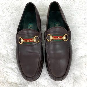 Gucci Brown Leather Horsebit Loafers Classic Web